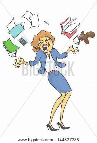 Cartoon illustration of business woman, clerk or secretary throwing stuff in the air out of happiness.