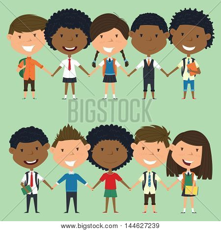 Multiracial school boys and girls standing and holding hands. Vector set of multicultural happy classmates. Collection of cute kids characters.