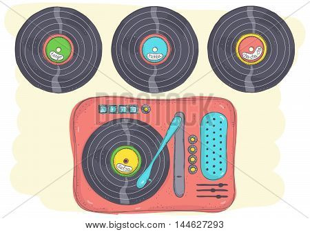 Retro doodle illustration of record player with Latin music records.