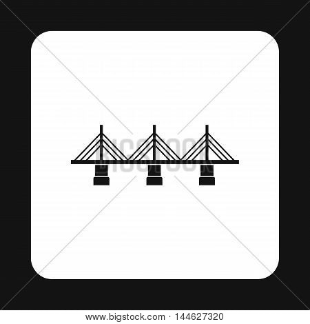 Bridge with triangular supports icon in simple style isolated on white background. Construction symbol