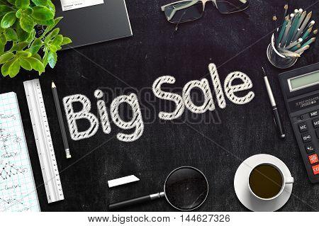 Big Sale Concept on Black Chalkboard. 3d Rendering. Toned Image.