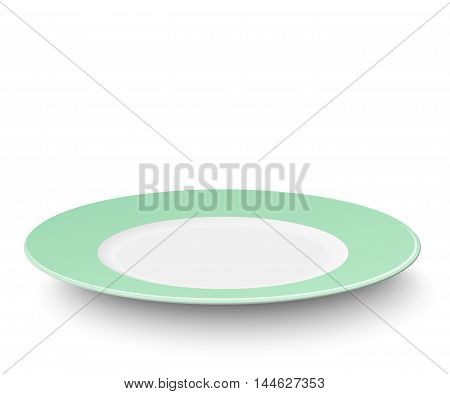 Empty vector light green plate isolated on white background