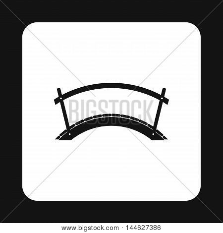 Wooden bridge icon in simple style isolated on white background. Construction symbol