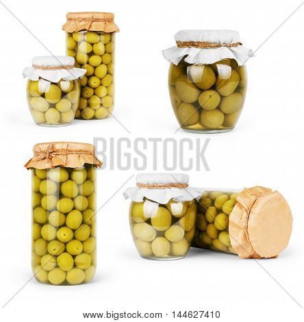 Collection set of assorted pickled olives and olive tree branch isolated on a white background