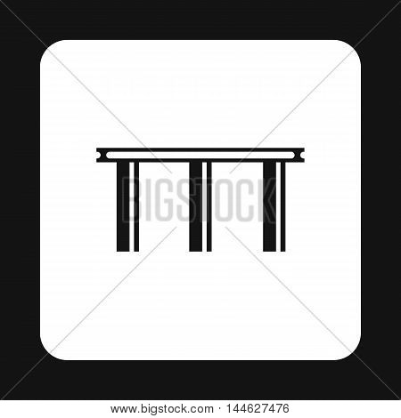 Narrow bridge icon in simple style isolated on white background. Construction symbol