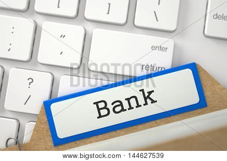Bank. Blue Archive Bookmarks of Card Index Overlies White Modern Keypad. Archive Concept. Closeup View. Blurred Image. 3D Rendering.