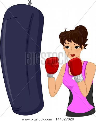 Illustration of a Woman Hitting a Punching Bag