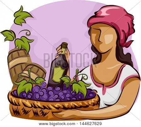 Illustration of a Native Woman Carrying a Basket of Grapes