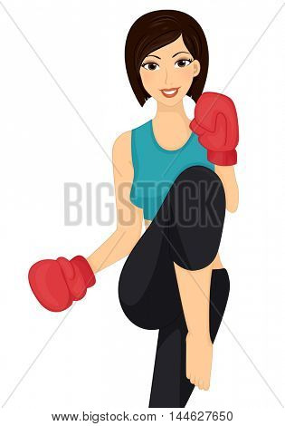 Illustration of a Woman Throwing a Kick
