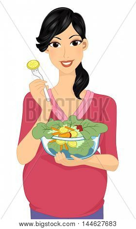 Illustration of a Plump Woman Eating Vegetable Salad