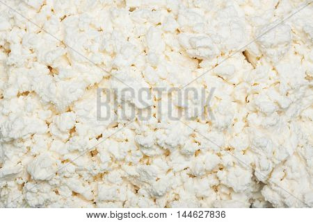 The texture of cottage cheese. The concept of a healthy diet, rich in calcium and protein. Interesting background and space for tex