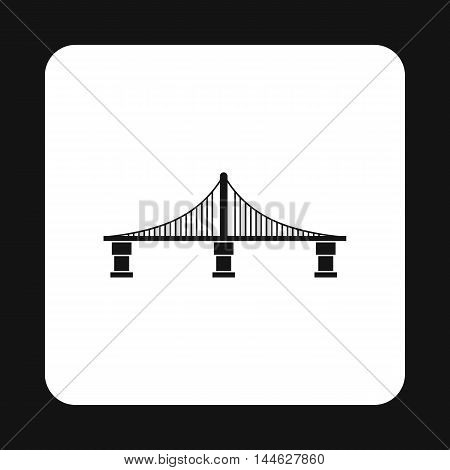 Bridge with steel supports icon in simple style isolated on white background. Construction symbol