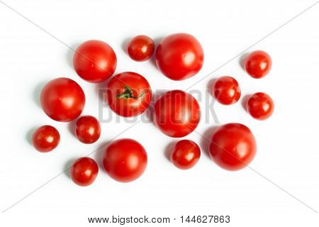 Set of cherry tomatoes isolated on a white background. The concept of healthy nutrition, organic food, fresh vegetables, veganism
