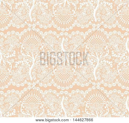Seamless floral lace borders on beige background