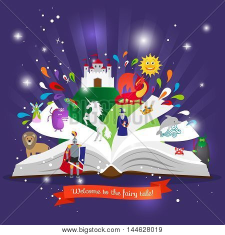 Fairy tale book. Open book with cartoon fairy tales characters vector illustration