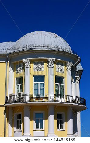 House built in the classical style with columns balconies and dome
