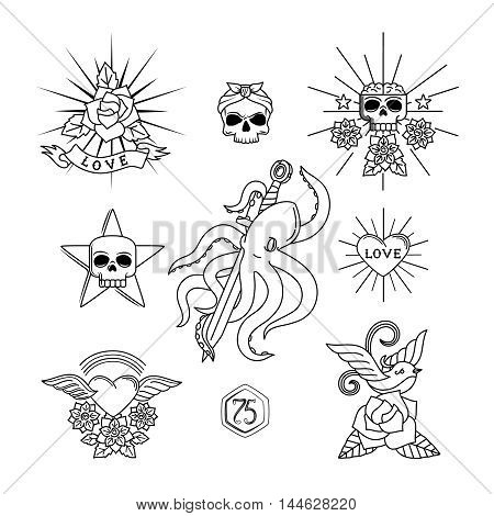 Tattoo vector elements. Linear tattoos with skull and flowers, heart, sparrow or swallow bird