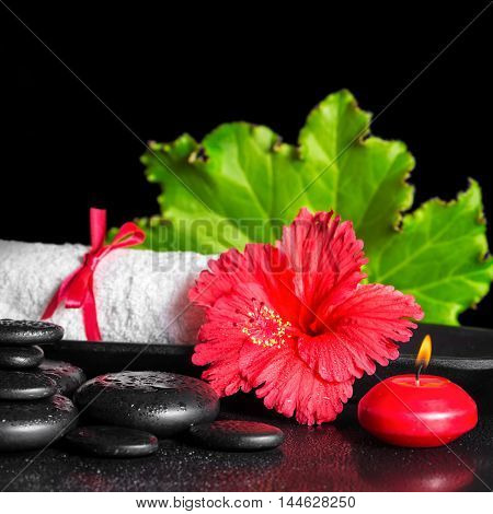 Beautiful Spa Composition Of Red Hibiscus Flower With Dew, Candles, Green Leaf And Rolled Towel On Z