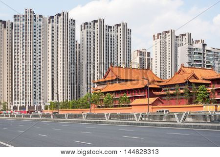 Residential buildings surrounding a temple in Chengdu Sichuan Province China