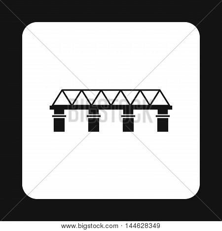 Bridge with pillars icon in simple style isolated on white background. Construction symbol