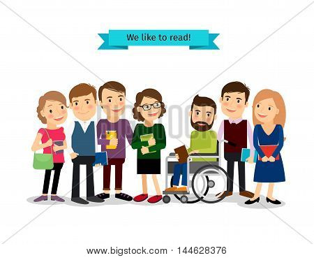 Reading books club. Vector people readers with disabled person in wheelchair isolated on white background