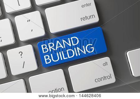 Brand Building Concept: Slim Aluminum Keyboard with Brand Building, Selected Focus on Blue Enter Keypad. 3D Illustration.