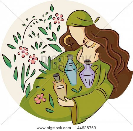 Illustration of a Gypsy Woman Collecting Herbs for Potions