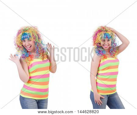 Woman with colourful wig isolated on white
