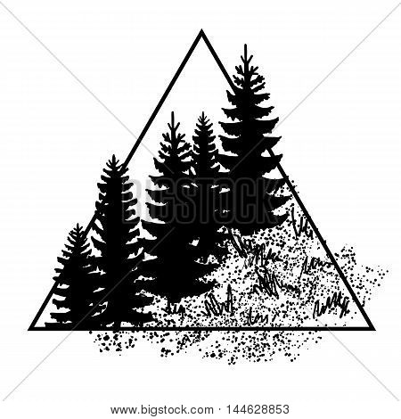 Hipster triangle logo with forest trees isolated on white