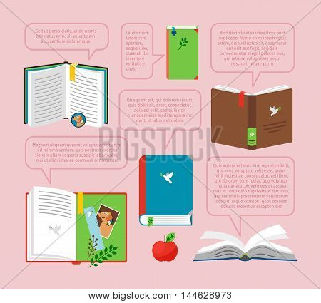 Books with quote set. Open books with quotes in bubbles vector illustration