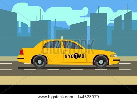 Yellow car taxi cab in cityscape vector illustration. Transportation service on road