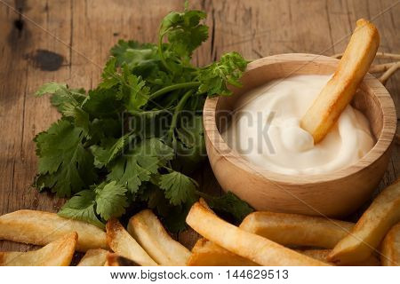Fries French Sour Cream Herb Still Life Close Up