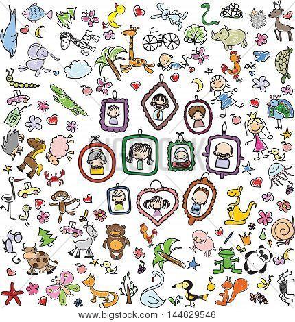 Vector set of children's doodle of happy family