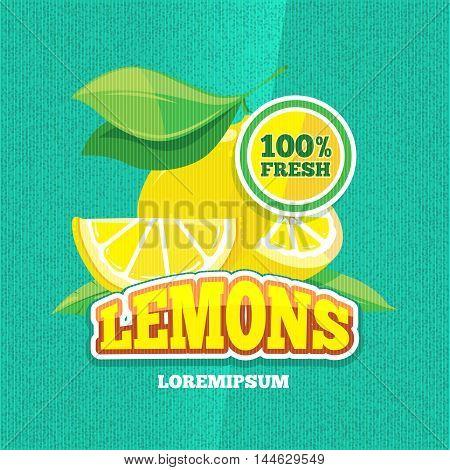 Vector retro poster with juicy fresh lemon, lemonade vintage background. Illustration of poster with fresh fruit
