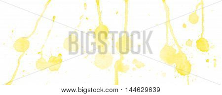 Yellow watercolor splashes and blots on white background. Ink painting. Hand drawn illustration. Abstract watercolor artwork.