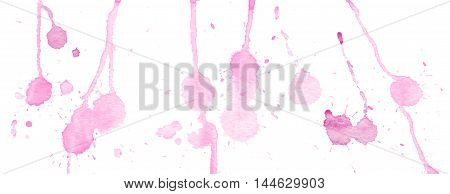 Pink watercolor splashes and blots on white background. Ink painting. Hand drawn illustration. Abstract watercolor artwork