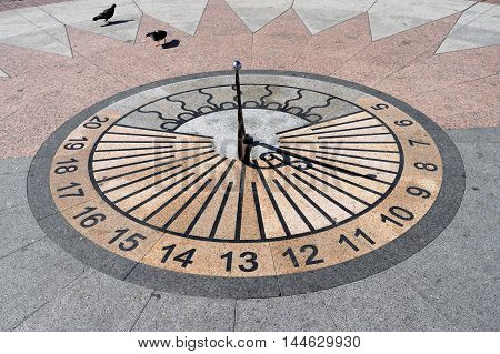 the sundial in the town square in Sevastopol