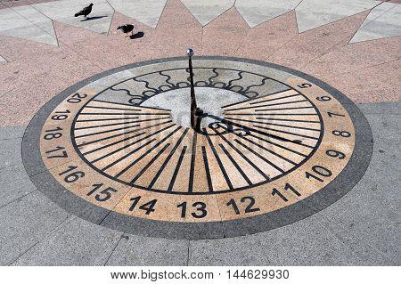 the sundial in the town square in Sevastopol