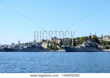 SEVASTOPOL, RUSSIA - JULY 17, 2017: historical military ships in the bay of Sevastopol