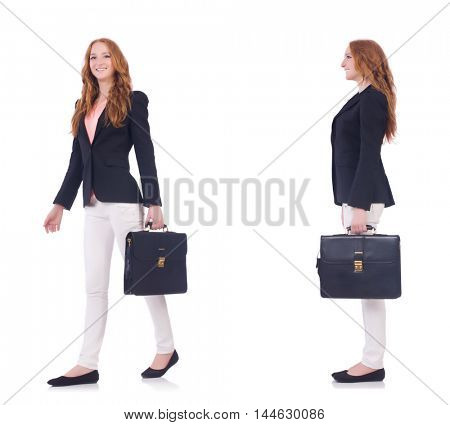 Businesswoman in suit isolated on white