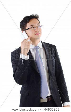 Southeast Asian business man on smartphone communication