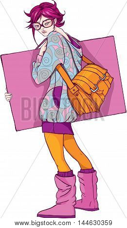 Artist girl with pink hair in glasses with a yellow bag.