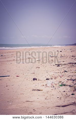 Pollution On The Beach Of Tropical Sea. Outdoors. Vintage Tone Effect.