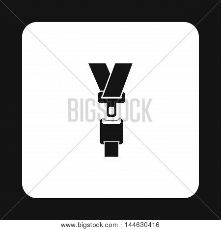 Seat belt icon in simple style isolated on white background. Protection symbol