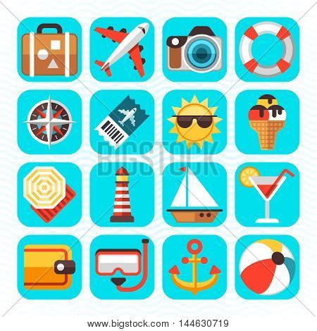 Summer beach travel vacation and tourism, summer time flat icons set. Vector illustration