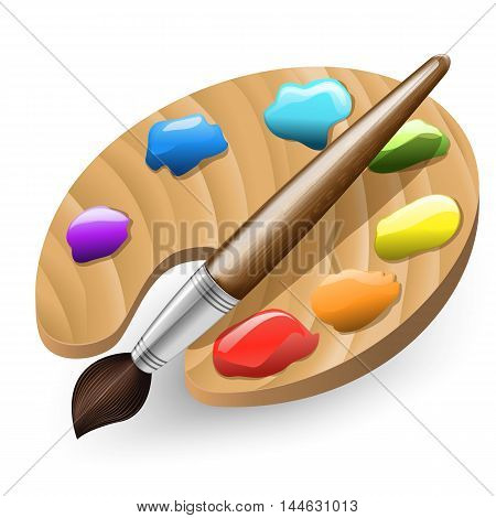 illustration of Color Brush and Color Pallet isolated on white background