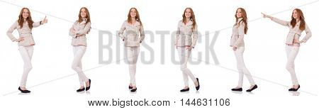 Happy woman in winter clothing isolated on white