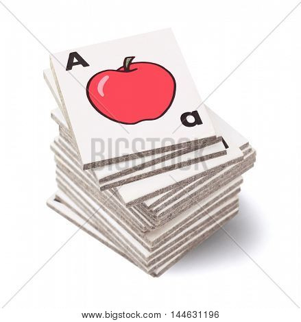 Stack of Preschool Alphabet Teaching Cards on White Background