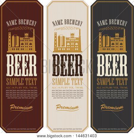 set of beer labels and the image of the brewery building