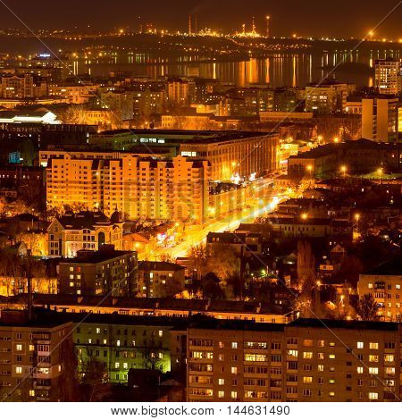 Nightlife Russia, The Evening City Of Saratov With Volga River